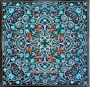 42 X 42 Inches Turquoise Stone Marquetry Art Dining Table Top Marble Hall Table
