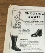 Stgun24 Advert5x4 Lionel Andrews Ltd, For 'acton' And 'viking' Shooting Boots