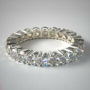 Lab Grown 2.00 Carat Engagement Eternity Band 14k Solid White Gold Size 5 6 7.5