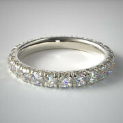 2.00 Carat Lab Grown Wedding Eternity Band 14k Solid White Gold Size 5 6.5 7.5