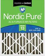 Nordic Pure 16x25x4 Merv 13 Pleated Plus Carbon Ac Furnace Air Filters 6 Pack