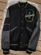 Ovo Roots 2016 Jamaica Black Bison Leather Wool Varsity Tour Jacket 1/20 Size M