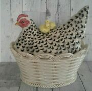 Fitz And Floyd 1990 Retired Poulet Collection Chicken Hen Chicks Basket Tureen