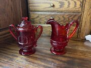 Vintage Ruby Red Glass Sugar And Creamer Set Depression - Set Of 2 - Very Rare