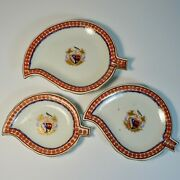 Antique Chinese Armorial Nesting Leaf Shaped Plates Set Of 3 Qing Dynasty Export