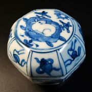 Antique Chinese Ming Dynasty Blue And White Porcelain Box 16th 17th Century