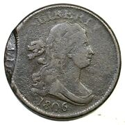 1806 C-1 Dbl Struck Small 6, No Stems Draped Bust Half Cent Coin 1/2c