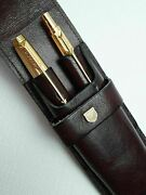 Parker 75 Gold Godron Fountain And Ballpoint 14kt Gold Nib Pen Set W/ Leather Case