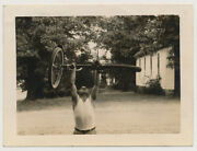Undershirt Strong Man Lifts Bicycle Over Head Vtg 40and039s Snapshot Photo Gay Int