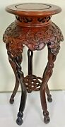 Vintage Chinese Rosewood Carved Pedestal Twist Knot, Mission Style Stand Table