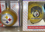 2 Vintage Pittsburgh Steelers Glass Christmas Ornaments Sports Collectors Series
