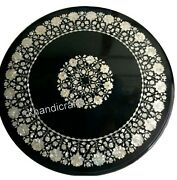 42 X 42 Inches Marble Meeting Table Top Inlay Dining Table With Mother Of Pearl