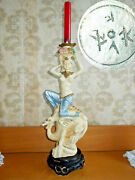 Vintage Large Candlestick Girl On A Dragon Figurine 16 Inches. 1970s