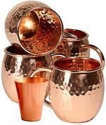 Moscow Mule Mugs With Copper Handle 4-set Solid Copper With Shot 1 Glass