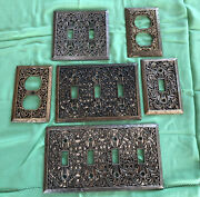 6 Vintage Filigree Ornate Electrical Outlet Light Switch Plate Brass Covers
