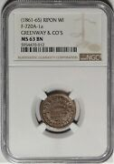 Ripon Wisconsin Greenwayand039s Concert Hall Civil War Store Card Wi 720a-1a Ngc Ms63