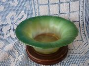 Lct Favrile Green Onion Skin To Opalescent C.1920 Glass Bowl 15051
