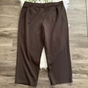 Eileen Fisher Taper Pull On Casual Pants Cropped Brown Womens Plus Size 3x Xxxl