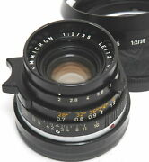 Leica M 2/35mm Summicron Black Early Version No. 2461959 With Hood And Caps