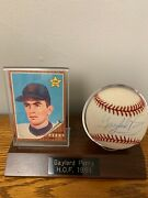 Gaylord Perry Autographed Ball With Rookie Card Both Encased In Plaque