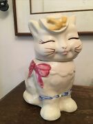 Shawnee Pottery Puss N Boots Cat Cookie Jar Yellow Bird Pink Bow Vintage, Cute