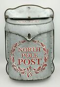 Metal Mailbox Christmas North Pole Post Letter To Santa Red Silver Farmhouse