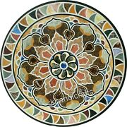 42 Inches Royal Pattern Inlay Dining Table Top Marble Office Table Multi Stones