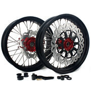 17and039and039 Supermoto Wheels Rims Rotor Bracket Set For Honda Crf250r Crf450r 2004-2012