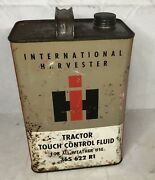 Vintage Ih International Harvester Tractor Touch Control Fluid 1 Gallon Tin Can