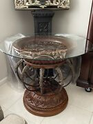 Vintage Table Round Carved Flowers Iris Ornate Iron Brass Unique Rate Heavy Larg