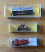 Vintage N Scale Lot Of [3] Train Cars 🚂flat Trailer, Beercan Tank And Caboose🚂