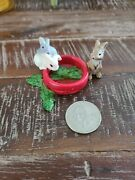Schleich Baby Bunnies Rabbits Eating From Red Dish Retired