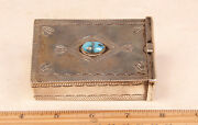 Navajo Sterling Silver Cigarette Box /w Bisbee Turquoise 3 5/8 X 2 1/2 C.1970s