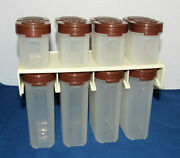 Vintage Set 8 Modular Mates Tupperware Spice Containers Shakers Brown Wall Rack