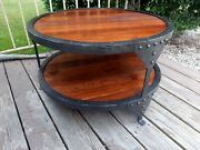 Industrial Farmhouse Round 2 Tier Reclaimed Chestnut Wood And Steel Coffee Table
