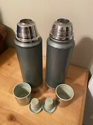 Vintage 1970andrsquos Aladdin Stanley Thermos Insulated Stainless Steel Lot C-75 And A-80