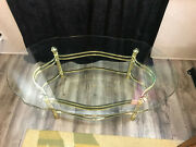 Vintage Mcm Brass Oval Coffee Table Glass Top Shell Feet Hands 47 1/4 X 27 1/4