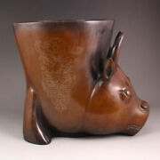 Vintage Chinese Red Copper Inlay Silver Wire Ox Head Incense Burner