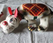 Vintage Tin Plate Toy Mobo Scottie Dog - Squeeze The Grip And See Me Scamper Along