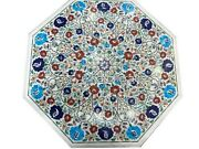 Multi Gemstones Inlaid Dining Table Top Marble Reception Table Size 36 Inches