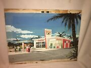 Sinclair Vintage Gas Station Painting 1960s Gasoline Oil Advertising