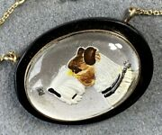 14k Yellow Gold Antique Victorian Essex Crystal Hunting Dog Fox Terrier Pendant