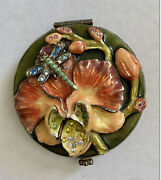 Jay Strongwater Double Mirror Compact W/ Crystal Enamel Orchid Dragonfly