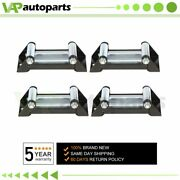 4pcs Steel Cable 4 Way Roller Cable Guide Roller Fairlead 4000-5000lbs Off-road
