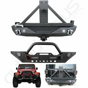 Front /rear Bumper W/ Spare Tire Carrier With Lights For 07-18 Jeep Wranglerjk
