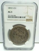 1893 S United States Morgan Silver Dollar - 90 Silver - Ngc Ag 3 - H3088