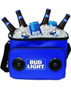 Bud Light Blue Soft Cooler With Built In Bluetooth Speaker Portable Rechargeable