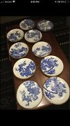 C.1900 Hand Painted Antique Blue And White Porcelain Igezara Plate Brown Rim .