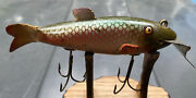 Vintage Creek Chub Fin Tail Shiner Antique Lure. Rare Red Side Shiner Finish.