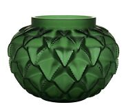 """Vintage Xl Languedoc Style Green Heavy Glass Art Vase H8""""w10""""signed France 13lb"""